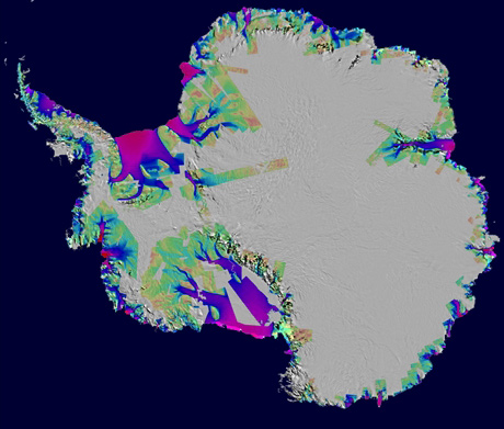 Ice Fig. 11. Antarctic Ice Loss Speeds Up, Nearly Matches Greenland Loss  January 23, 2008 - PASADENA, Calif.  Ice loss in Antarctica increased by 75 percent in the last 10 years due to a speed-up in the flow of its glaciers and is now nearly as great as that observed in Greenland, according to a new, comprehensive study by NASA and university scientists. ...