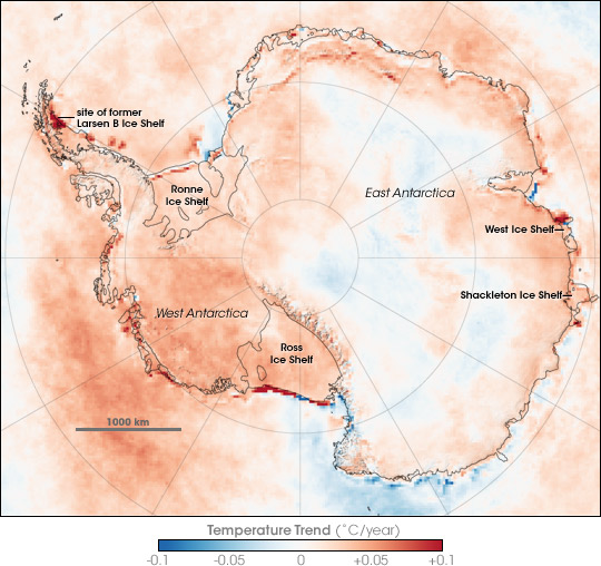 Antarctica Fig. 1 Temperature Trend Between 1981 & 2007