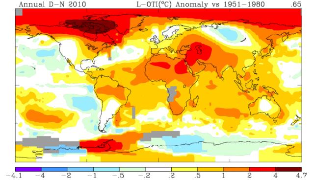 GISS Annual Surface Temperature Dec. 2009 - Nov. 2010